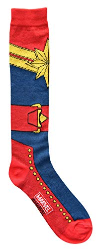 Marvel Captain Marvel Suit Up Costume Juniors/Womens Knee High Socks -