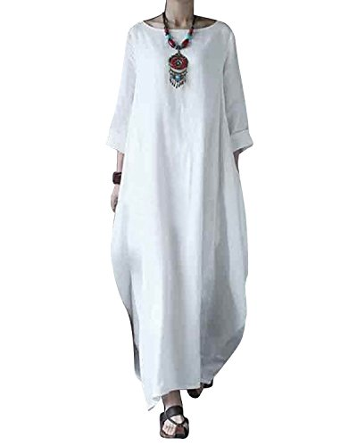 Jacansi Women Boho Beach Party Plain Cotton Linen High Low Hem Kaftan Dress White L by Jacansi