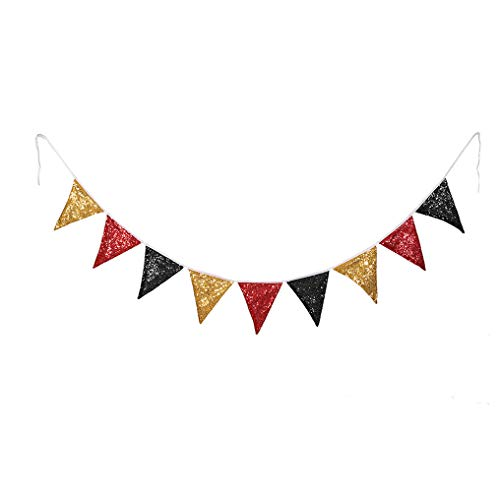 PartyDelight Black Red and Gold Sequin Bunting, Multicolor Fabric Triangle Flag Bunting for Party,Wedding Sequin Bunting/Garland, Outdoor Bunting Flag(9 Flags in one Bunting, 2 Packs)