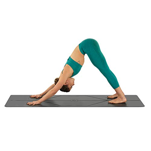 Liforme Original Yoga Mat - The World's Best Eco-Friendly, Non Slip Yoga Mat with The Original & Unique Alignment Marker System - Made with Natural Rubber - Biodegradable Yoga Mat - Gray