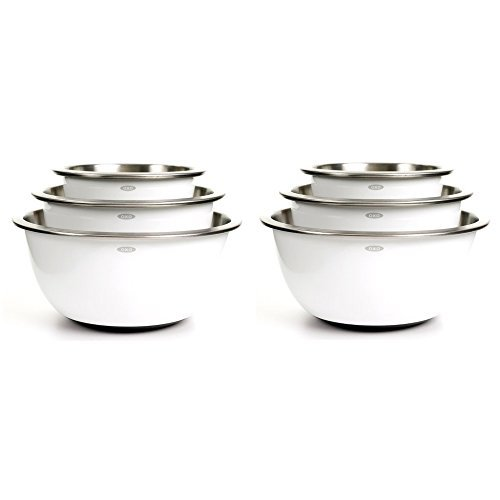 (OXO Good Grips 3-Piece Stainless-Steel Mixing Bowl Set, White (2 Pack))