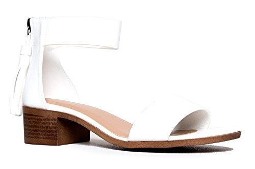 Image of Wide Strap Tassel Heel, White Jing PU, 6 B(M) US