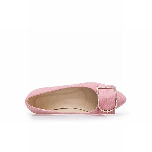 Carolbar Mujeres Rhinestones Hebilla Sweet Mid Heel Loafer Bombas Zapatos Pink