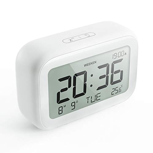 HAPTIME Digital Alarm Clock with Modern Minimalist Style - LCD Display Volume Adjustable Snooze and Weekend Mode for Bedroom Bedside Office Desk Kids - Simple operation - 2 AAA Battery Powered - White