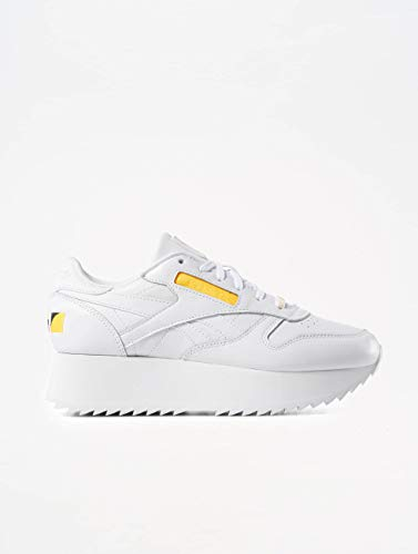 Mujer White Leather Classic Zapatillas Negro Reebok Double Yt6Pw