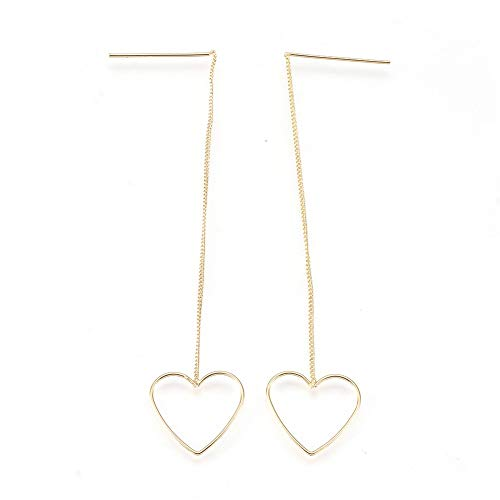 Pandahall 1 Pair Nickel Free Brass Ear Thread Heart Dangle Real Gold Plated Earrings Threader Findings Strong Earrings Jewelry Making 2.5 Inch Pin: 0.8mm Gift for Girl Friend Mother's Day Present