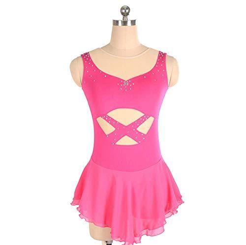 - Figure Skating Dress,Women's Girls' Pink Halo Dyeing Spandex High Elasticity Competition Skating Wear Handmade Jeweled Rhinestone Sleeveless Ice Skating Dress,Pink-Child12