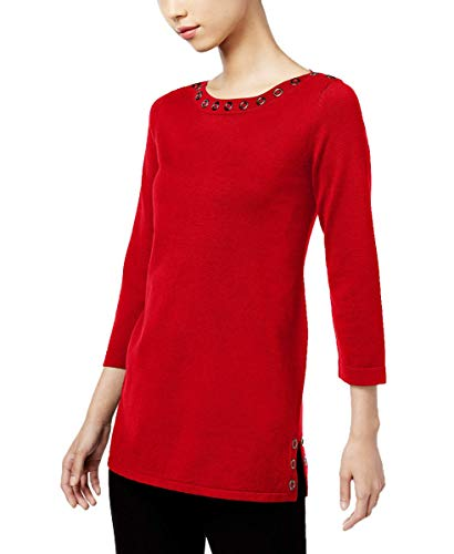 (Cable & Gauge Womens 3/4 Sleeve Embellished Pullover Sweater (Scarlet Sage, Large))