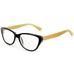 """Zen Valley"" Cateye Wayfarer Reading Glasses with Woodgrain Temples for Women (Black +1.75)"