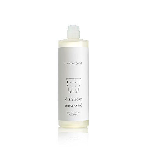 Soap 16 Oz Unscented Refill - Common Good Dish Soap, Plant-Based with Pure Essential Oil Scents, Biodegradable Formula, No Parabens or Sulfates, Leaping Bunny Certified (Unscented, 16 oz)