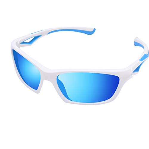 YAMAZI Kids White Polarized Sunglasses For Boys Girls Children And Toddler 100% UV Blocking(White Blue | Blue Mirrored Lens, ()
