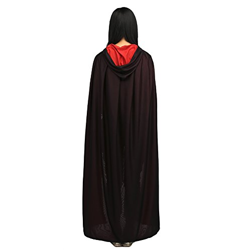 [Halloween Hooded Cape 59in Cosplay Robe Cloak Fancy Costume One Size Black Red] (Womens Deluxe Hooded Robe Costumes)