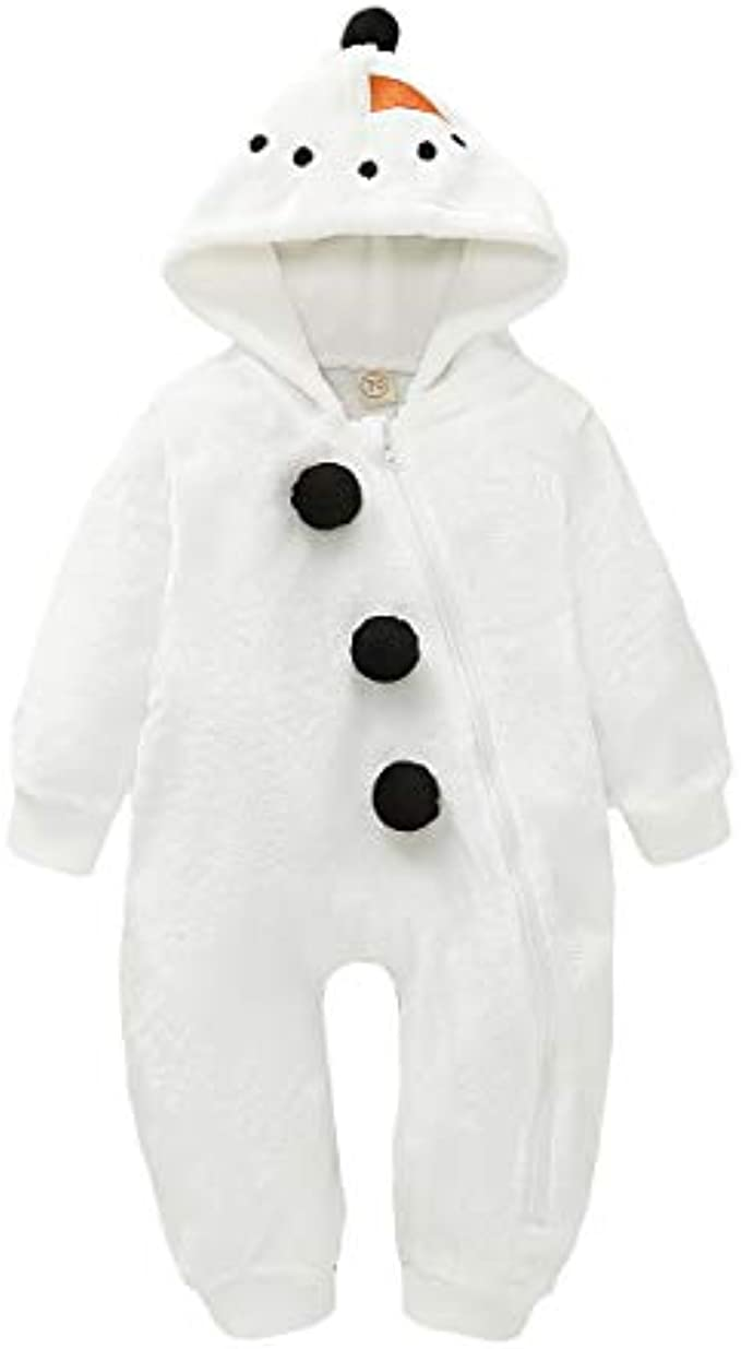 Baby Boy Girls Christmas Romper Velvet Hoodied Snowman Jumpsuit Toddler Costume Xmas Clothes