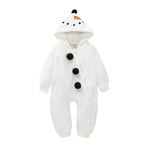 Baby Boy Girls Christmas Romper Velvet Hoodied Snowman Jumpsuit Toddler Pajama Xmas Clothes (White, 6-12 Months)