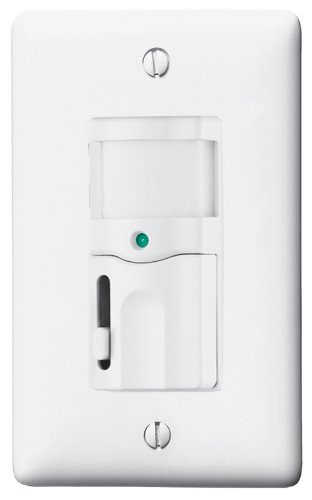White PIR 120V AC 800 Sq Coverage Wall Switch with Dimming Ft 500W Incandescent Only Bryant Electric RMS121W Occupancy Vacancy Sensor 150-Degree View