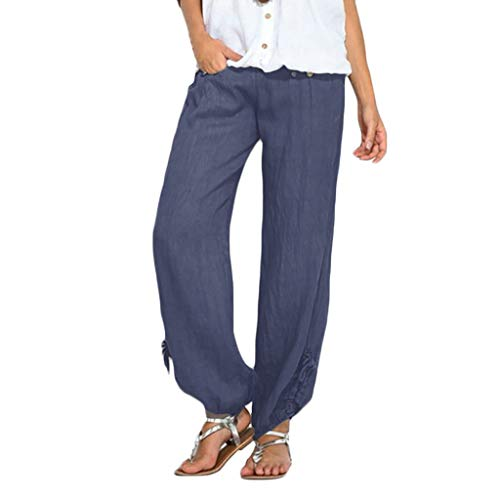 (2019 Women's Casual Pants,Solid Color Loose Buttons Bandage Long Trousers by-NEWONESUN Blue)