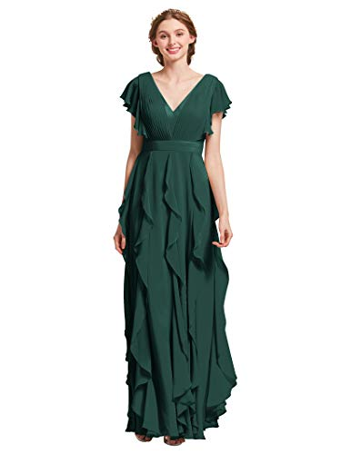 AW Bridal Long Bridesmaid Dresses for Women Formal Dresses with Sleeves Chiffon Gowns and Evening Dresses, Dark Emerald, US12