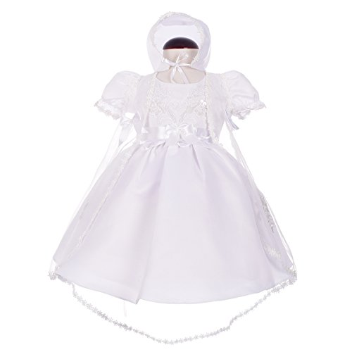 - Dressy Daisy Baby Girls' Pearls Embroidered Baptism Christening Gown Dress With Cape And Bonnet Infant Size 3 Months White