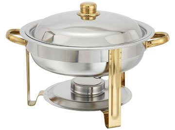 Malibu Collection Gold-Accented Chafing Dish - Round, 4 Qt.