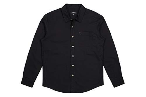 Brixton Men's Charter Oxford Standard FIT Long Sleeve Woven Shirt, Black, L