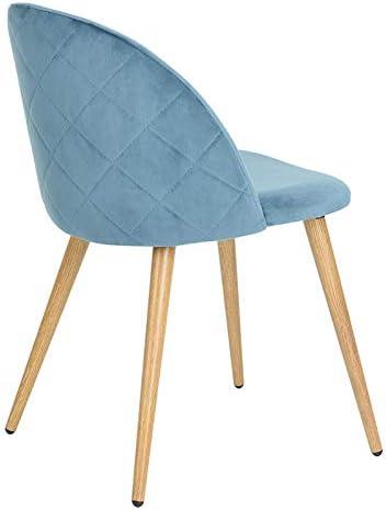 Chaises Rembourr/ées de Loisirs avec Accent Moderne ArtDesign FR Lot de 2 Chaises de Salle /à Manger en Tissu de Velours Pieds en M/étal avec Motif en Bois Red