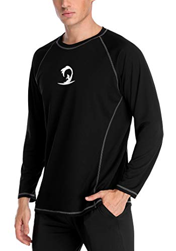 ALove Men Long Sleeve Rashguard Breathable Swim Tee Quick-Dry Swimwear Top Black ()