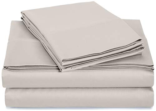 AmazonBasics 400 Thread Count Cotton Cover Bed Sheet Set with Sateen Finish - Queen, Stone Grey (Amazon Set Stone)