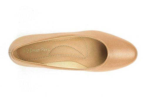 DREAM PAIRS Womens Mila Low Chunky Heel Pump Shoes Nude Pu oabxHE6Y