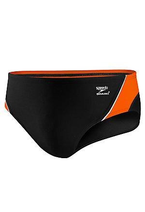Speedo Men's Endurance+ Launch Splice Brief Swimsuit, Black/Orange, ()