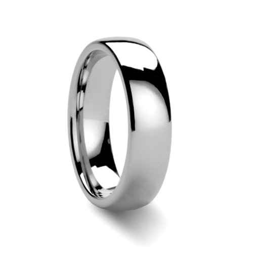 THORSTEN DOMINUS Men's Plain Domed Tungsten Carbide Ring Comfort Fit Polished Finish Lightweight Durable Wedding Band 8mm