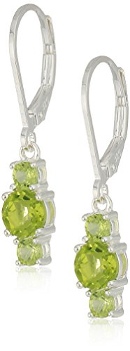 Genuine Stone Ring (Sterling Silver Genuine Peridot 5mm and 3mm Three Stone August Birthstone Leverback Dangle Earrings)