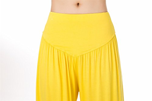 o Modal Yoga Loose donna Yellow morbido Fit per SIMYJOY Pilates da Leggings Spandex e Lunghi Pantaloni qOUft