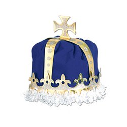 Adult Royal Blue King Costumes (Royal King's Crown (blue) Party Accessory (1 count))