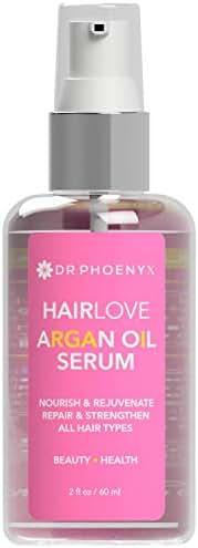 Dr. Phoenyx HairLove Argan Oil Hair Serum - Nourishing Leave in Hair Treatment, Boosts Shine, Smooths Frizz, Strengthens Hair with Coconut Oil, Vitamin E, Silk Amino Acids, Aloe - 2.25 fl oz