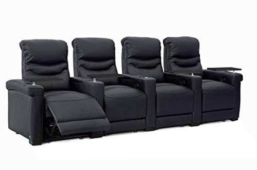 Octane Challenger XS700 Black Leather Home Theater Seating (Set of 4)