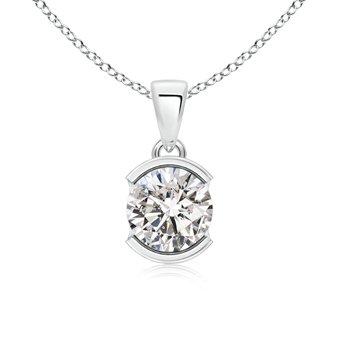 Amazon half bezel set diamond solitaire pendant necklace in half bezel set diamond solitaire pendant necklace in 14k white gold mozeypictures Image collections