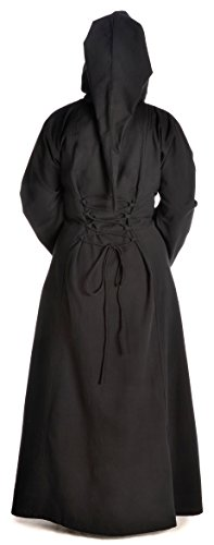 zum XL grün Damen rot blau Gugel mit schwarz S Mittelalter Schwarz Schnüren weiß Kleid HEMAD braun 1ptgHq1