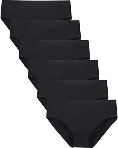 Areke Womens Bikini Panties Seamless Underwear, Soft Stretch Cheekini Hipster Briefs 6 Pack (Black XL)