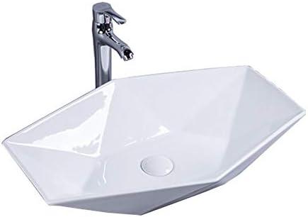 洗面ボウル 北欧ヘキサゴンダイヤモンド形状の上カウンターセラミック容器シンクの洗面化粧台ボウル 浴室の台所の流し (Color : White, Size : 63x41x13cm)
