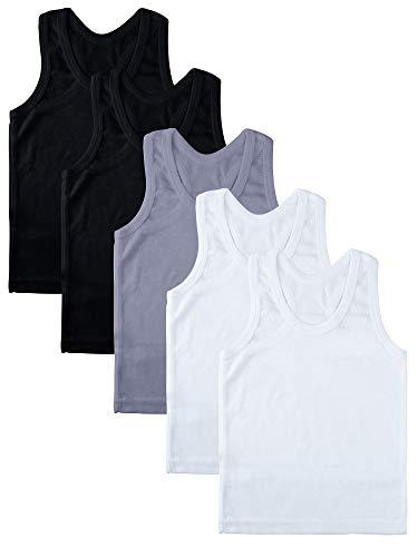 Coobey 5 Pack Toddler Kids Cotton Tank Top Undershirts Boys or Girls Soft Undershirt Tees (3T / 4T, - Girls Tank Wings Top