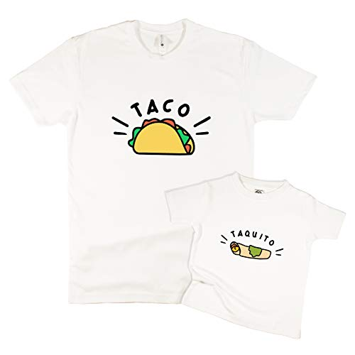 The Spunky Stork Taco & Taquito Matching Baby Toddler T Shirts - Siblings or Daddy & Me (Each Sold Separately) (Taco Adult LG) White