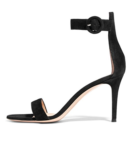 EDEFS Womens Open Toe Ankle Strap Sandals 80mm High Heel Summer Dress Shoes Suede Black Pqd2kaOu