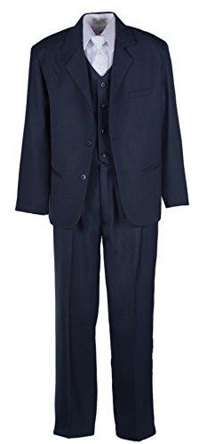 Boys Husky Navy Blue Suit with Vest and Communion Cross Tie (10 Husky) ()