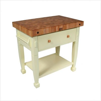 (Jasmine Butcher Block Kitchen Island Finish: Warm cherry stain, Size: 36