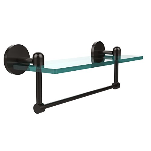 Allied Brass TA-1TB/16-ORB Glass Shelf with Towel Bar, 16-Inch x 5-Inch Allied Oil Rubbed Towel Bar
