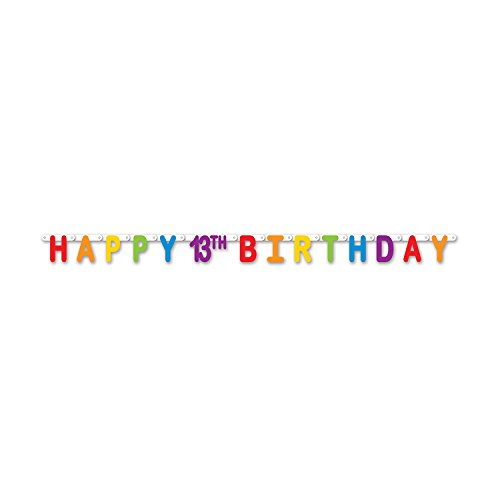 Happy Birthday Streamer (Beistle 59859-13 Happy 13th Birthday Streamer, 4.25