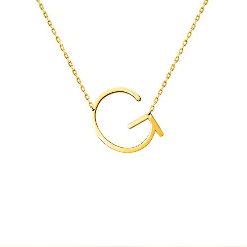 WIGERLON Stainless Steel Initial Letters Necklace for Women and Girls Color Gold and Silver from A-Z Letter G Color Gold