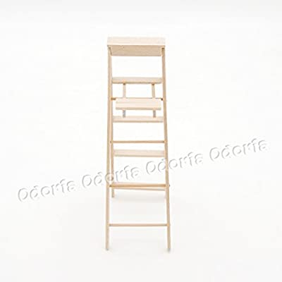 Odoria 1:12 Miniature Wooden Step Ladder with Platform Folding Dollhouse Furniture Accessories: Toys & Games