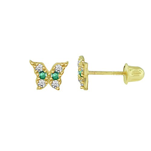 Emerald Ring 14kt Gold Jewelry (14kt Solid Gold Kids Butterfly Stud Screwback Earrings - Emerald Green)