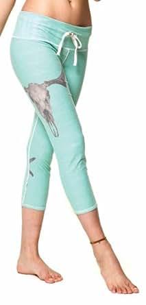 Teeki - Designer Activewear - Deer Medicine Teal Gypsy Capri - Small